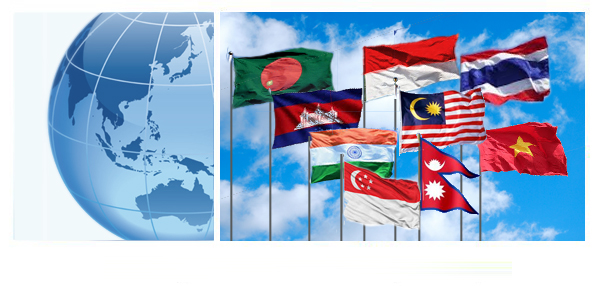 Flags and Globe of Southeast Asia