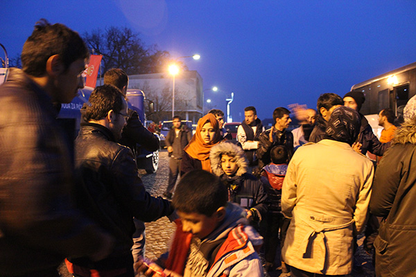 refugees at the station